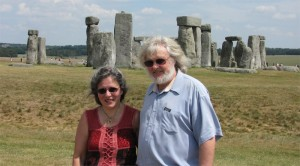 At Stonehenge with Damian, husband, archaeologist and IT specialist.